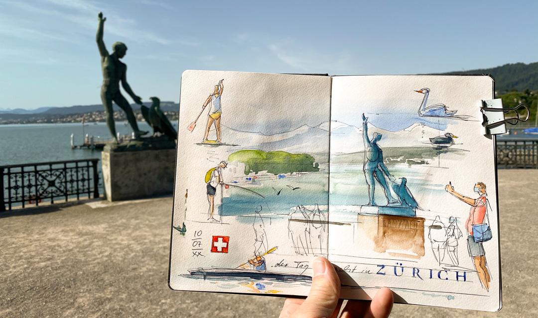 Urban Sketching an der Limmat